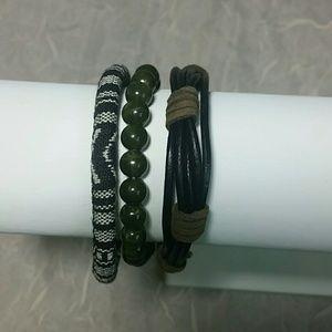 Bracelets Set 3 green black white